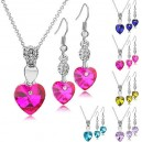 Dámský set - náhrdelník + náušnice srdce Swarovski krystal G0808 - 5 barev