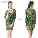 Dámské šaty zelené s pavími pery a rukávy Ever Pretty 27133