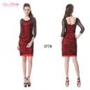 Sexy červené dámské společenské šaty s černou krajkou a 3/4 rukávy Ever Pretty 3778