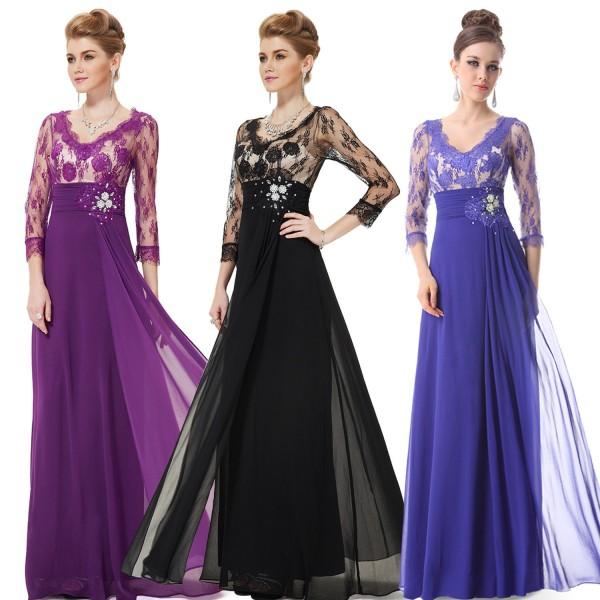 Luxusní společenské dlouhé šaty Ever Pretty s krajkou a rukávy 9053 -  modré f744fc6737