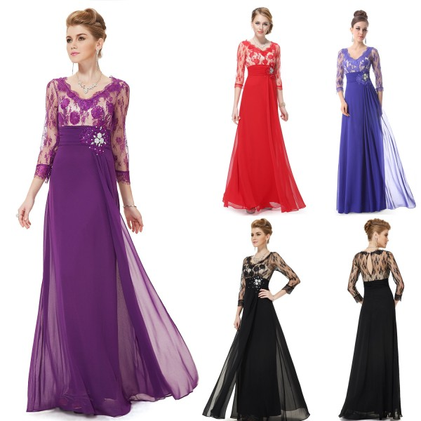 ... Luxusní společenské dlouhé šaty Ever Pretty s krajkou a rukávy 9053 -  modré 5ea74561d2