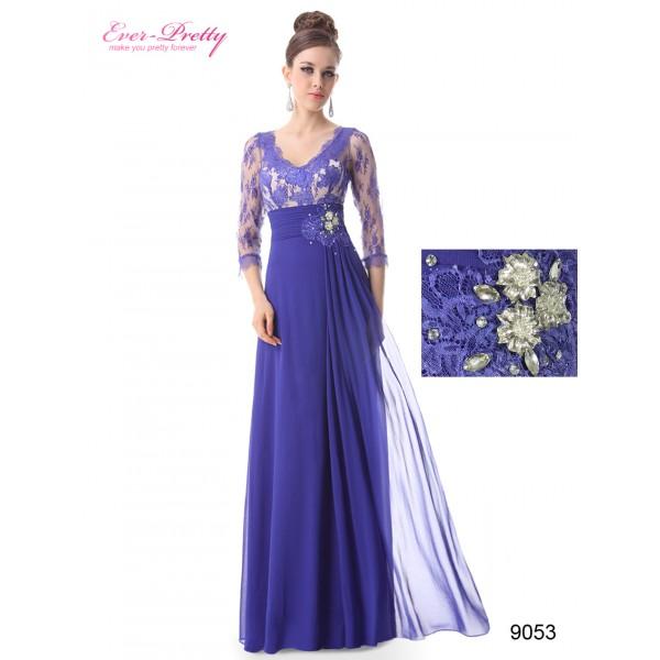 43276e99de5 ... Luxusní společenské dlouhé šaty Ever Pretty s krajkou a rukávy 9053 -  modré