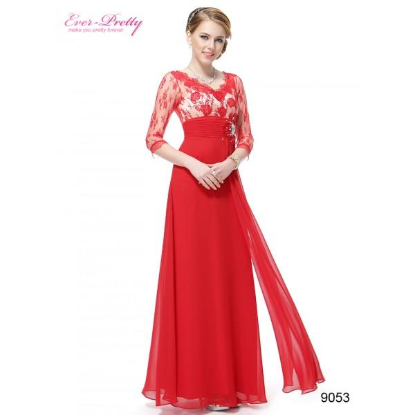ee102a38b81a ... Luxusní společenské dlouhé šaty Ever Pretty s krajkou a rukávy 9053 -  modré
