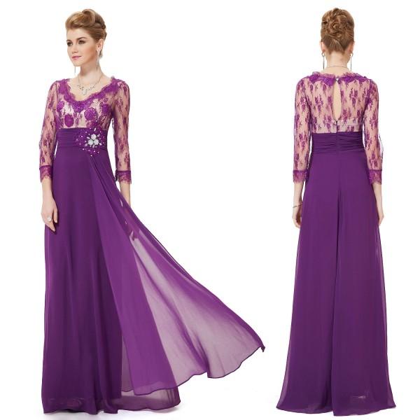 ... Luxusní společenské dlouhé šaty Ever Pretty s krajkou a rukávy 9053 -  modré b54497b5b2