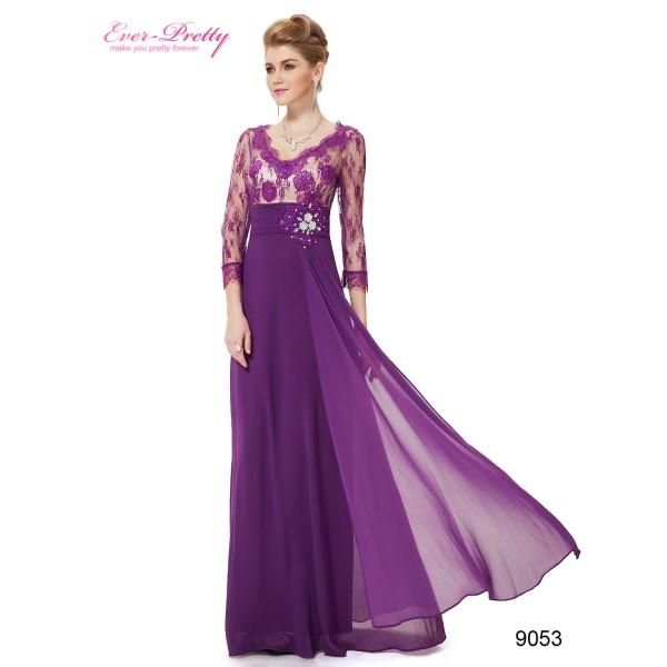 eceb14a87efd ... Luxusní společenské dlouhé šaty Ever Pretty s krajkou a rukávy 9053 -  modré