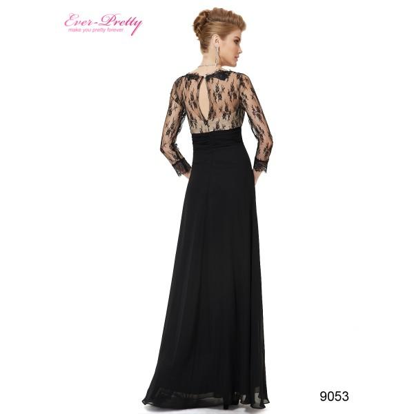 52b6f56ec97 ... Luxusní společenské dlouhé šaty Ever Pretty s krajkou a rukávy 9053 -  modré