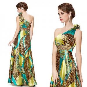 Sexy leopardí společenské dámské šaty Ever Pretty na jedno rameno 9623