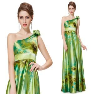 Sexy zelené společenské dámské šaty Ever Pretty na jedno rameno 9623