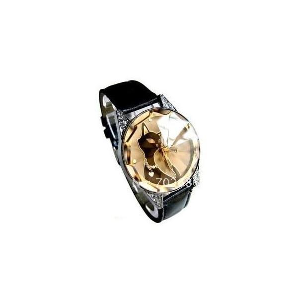 Módní dámské hodinky černé s kočkou a krystaly - Angel fashion 2a1b362bed