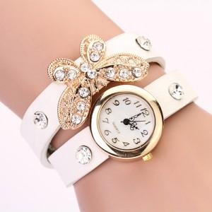 Moderní retro dámské hodinky s motýlkem a krystaly - bílé