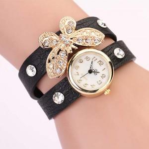Moderní retro dámské hodinky s motýlkem a krystaly - černé