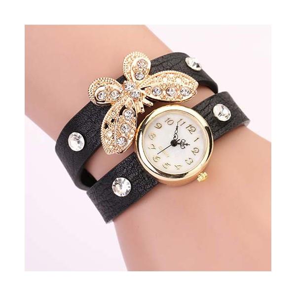 760d4158e48 Moderní retro dámské hodinky s motýlkem a krystaly - černé - Angel ...