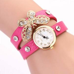 Moderní retro dámské hodinky s motýlkem a krystaly - růžové