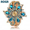 Luxusní dámské hodinky jako šperk s krystaly - tyrkysově modré