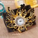 """Dámské hodinky """"Květina"""" s krystaly jako šperk - černé"""