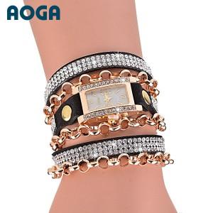 Moderní retro dámské hodinky s krystaly - černé
