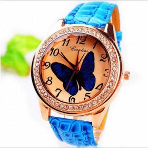 Módní dámské hodinky s koženým páskem a motýlkem - modré