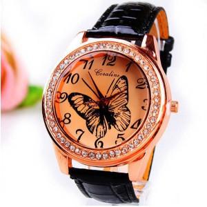 Módní dámské hodinky s koženým páskem a motýlkem - černé