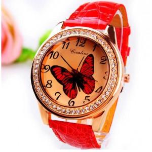 Módní dámské hodinky s koženým páskem a motýlkem - červené