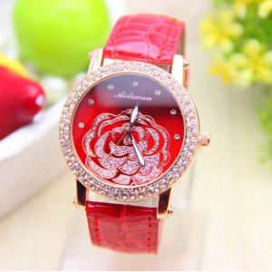 Módní dámské hodinky s koženým páskem a růží - červené