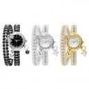 Luxusní dámské hodinky osázené krystaly a perlami - černé, stříbrné, zlaté