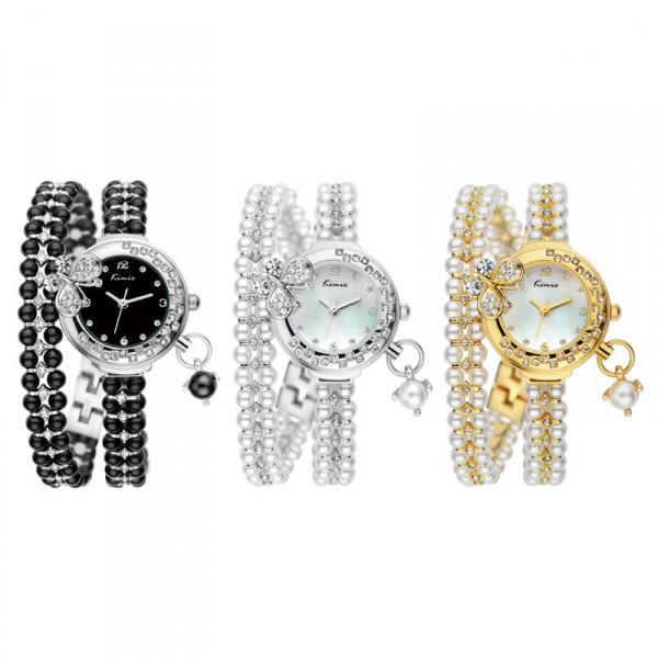 ad180953022 Luxusní dámské hodinky osázené krystaly a perlami - černé
