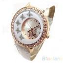 Módní dámské hodinky s koženým páskem a motýlky - bílé, černé