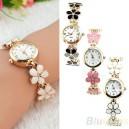 Modní zlaté dámské hodinky s květinami - 3 barvy