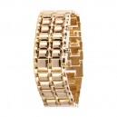 Pánské lávové zlaté LED kovové náramkové hodinky - 2 varianty