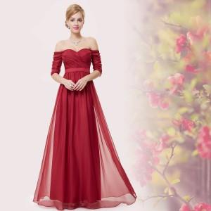 Luxusní červené společenské, plesové šaty s rukávky 8411
