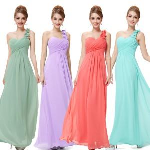Nebesky jemné společenské šaty Ever Pretty na jedno květinové ramínko 9768 - 12 barev