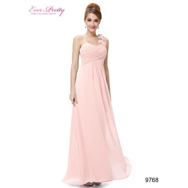 2b9f11fc36f Nebesky jemné společenské šaty Ever Pretty na jedno květinové ramínko 9768  - 12 barev