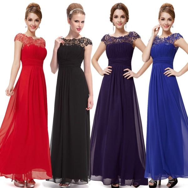 Elegantní společenské šaty s krajkou v dekoltu 9993 - 7 barev ... 23601b8606