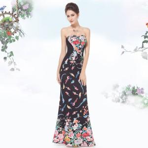 Sexy černé společenské šaty s květy a ptáčky - kolibříky 8418
