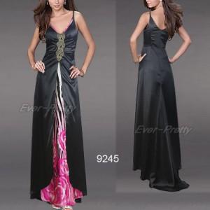 Fascinující saténové černé společenské šaty Ever Pretty 9245