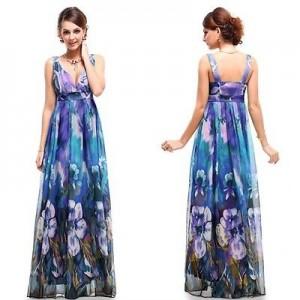Fantastické letní květinové dámské šaty Ever Pretty 9349 - fialové