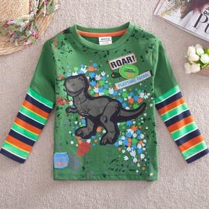 Dětské chlapecké tričko, triko s dlouhým rukávem zelené s dinosaurem