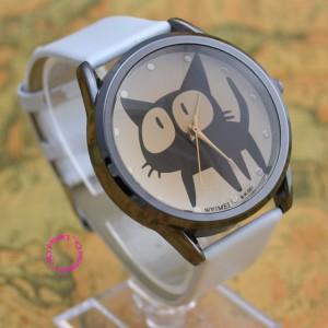 Roztomilé dámské hodinky s kočičkou - bílé