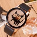 Roztomilé dámské hodinky s kočičkou - černé