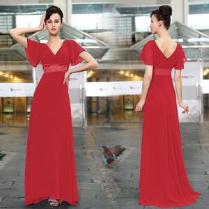 Okouzlující společenské, letní dámské šaty s rukávky 9890 červené