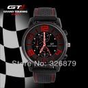 Pánské stylové sportovní silikonové hodinky - černé s červenou