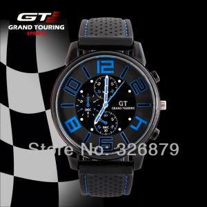 2a059ec01 Pánské stylové sportovní silikonové hodinky - černé s modrou - Angel ...