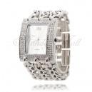 Luxusní stříbrné dámské hodinky s krystaly a atraktivním opaskem
