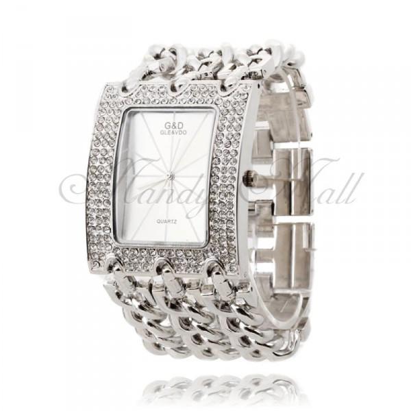 614cdcc2411 Luxusní stříbrné dámské hodinky s krystaly a atraktivním opaskem ...