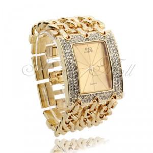 Luxusní zlaté dámské hodinky s krystaly a atraktivním opaskem