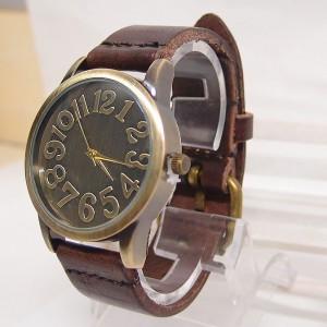 Pánské retro kožené hodinky - hnědé - Angel fashion d91a176de7