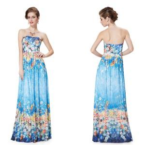 Dámské květinové modré společenské kouzelné šaty 8378