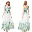 Letní dámské společenské, dlouhé šaty na jedno ramínko, bílé s potiskem 8032