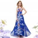 Dámské letní modré květinové dlouhé šaty bez ramínek 9865