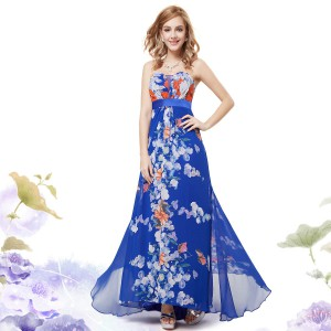 Dámské letní modré květinové dlouhé šaty bez ramínek 9865 - Angel ... dd8ef2e0e4